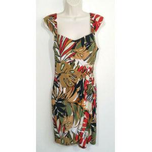 CACHE Women Tropical Faux Wrap Sheath Dress 2699E2